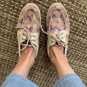 Sperry Top Sider pink purple flowers sequin Sz 8.5